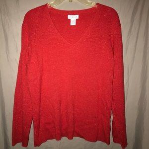 Avenue Red Sparkle Shimmer V-Neck Sweater